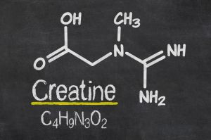 Blackboard with the chemical formula of creatine