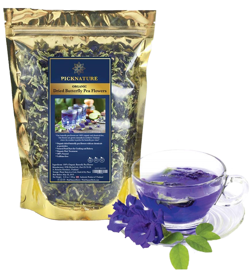 Picknature Premium Thai Herb Organic Dried Butterfly Pea Flowers Tea